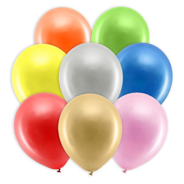 10 Party-Ballons mit Metalliceffekt, 30cm