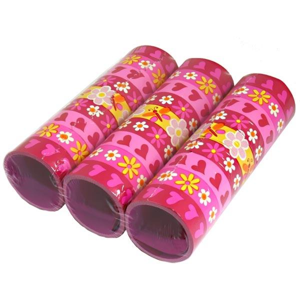 Luftschlangen pink mit Herzen und Blümchen, 3 Rollen Papierschlangen