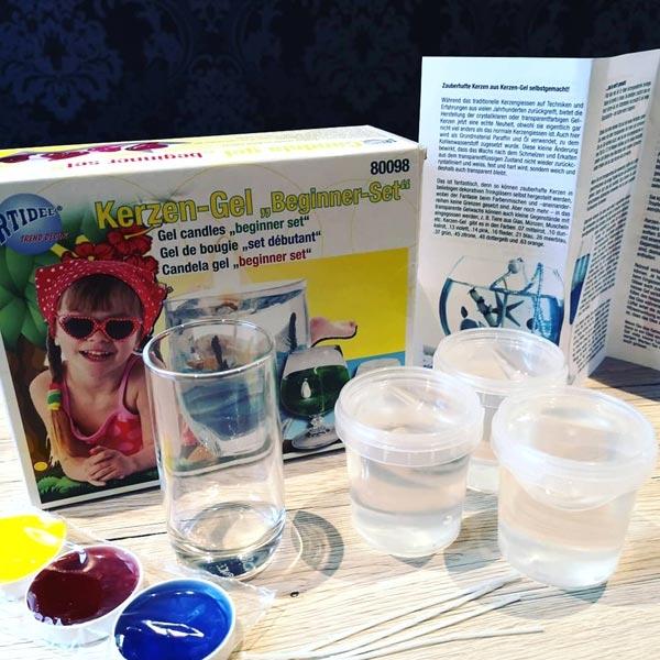 Kerzen-Gel Starter Set f. eigene Kerzen, Gel,3Farben,4 Dochte,Anleitg.