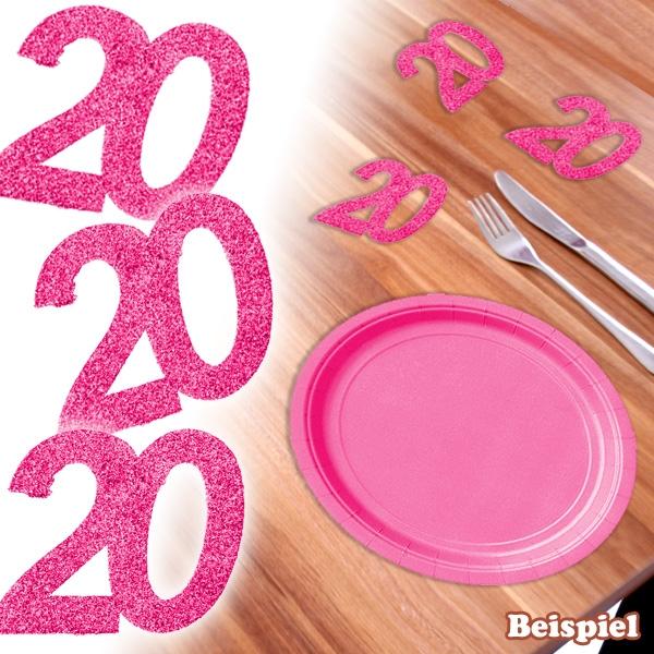Glitzer-Zahlen 20 in Pink für den 20. Geburtstag einer Frau, 6 Stück