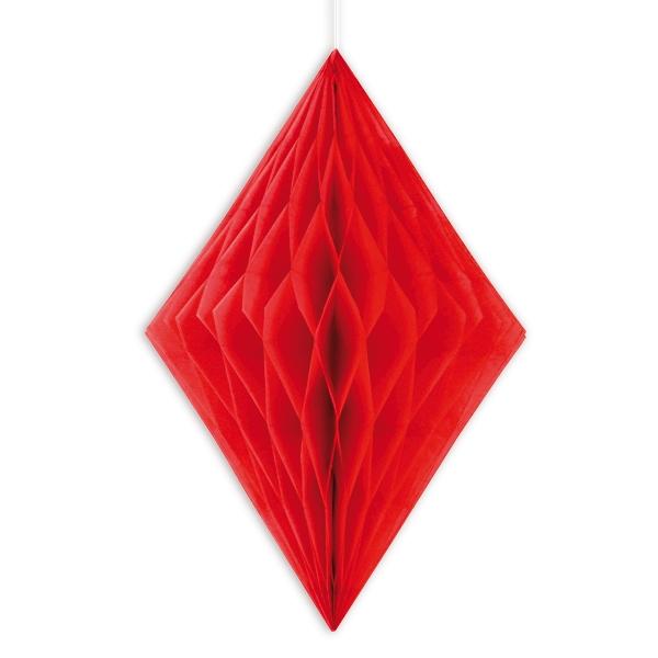 roter Wabendiamant, Wabendeko in Rot als Festschmuck, 35,5cm, 1 Stück