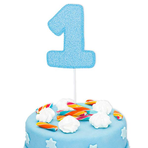"Cake Topper  Zahl ""1"", glitzerndes Blau, 1 Stk. Tortendekoration 1. Geburtstag"