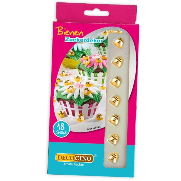 Bienchen Zuckerdekor im 18er Pack für Honigbienen auf Kuchen/Muffins