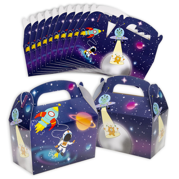 12 Weltraum Geschenkschachteln, 12,5cm x 12cm x 6cm