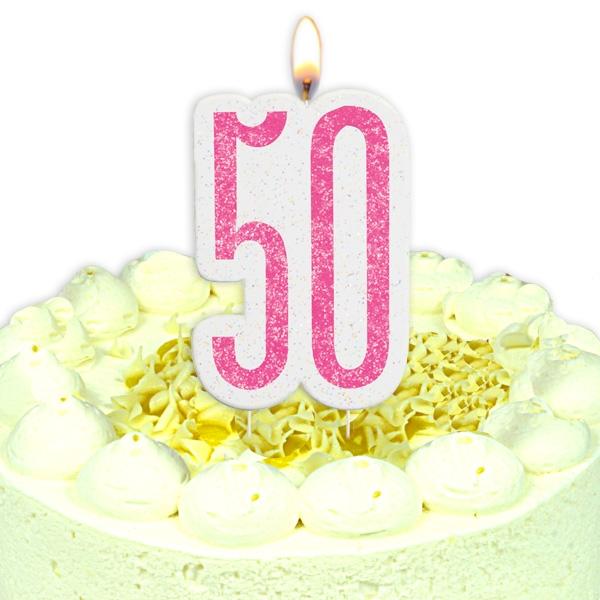 Geburtstagskerze Zahl 50, in glitzerndem Pink für Frau