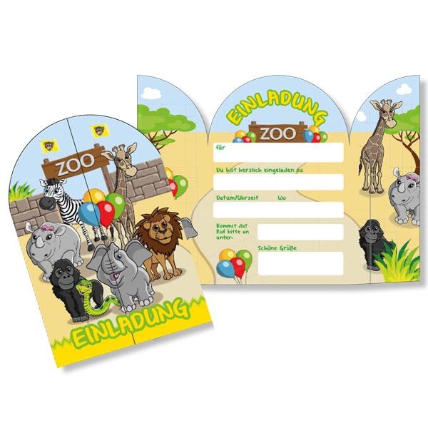 Zoo Einladungskarten, 8er Pck, 13,5cm x 20cm