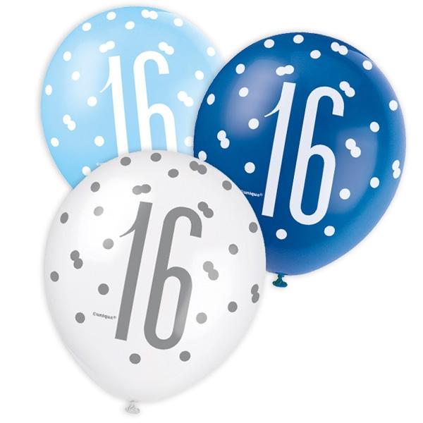 Latexballons mit Zahl 16, bläulich, 6 Stk., 30cm