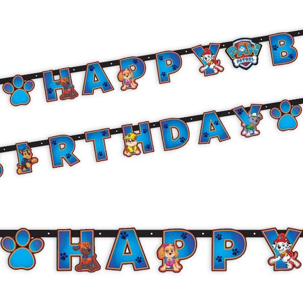 Partykette Paw Patrol als Happy Birthday-Spruch, 2,4m, Pappe, 1 Stück