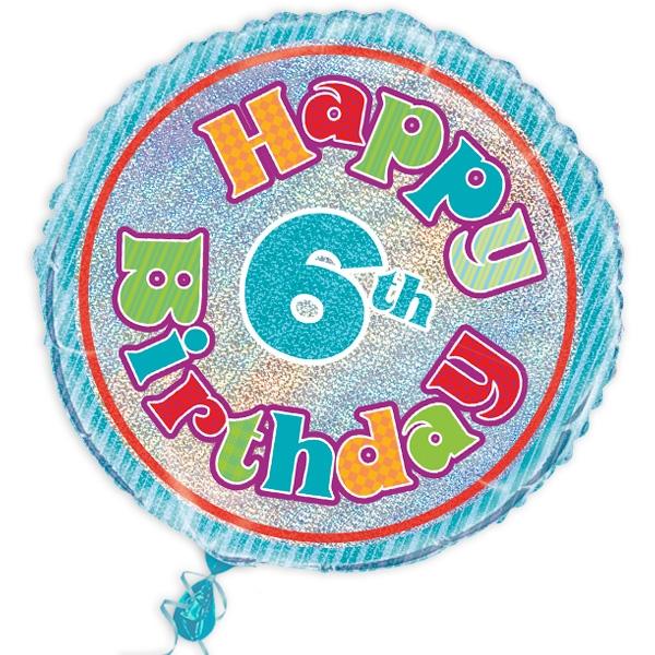 "Folienballon ""Happy 6th Birthday"", prismatisch, Ø 45cm"