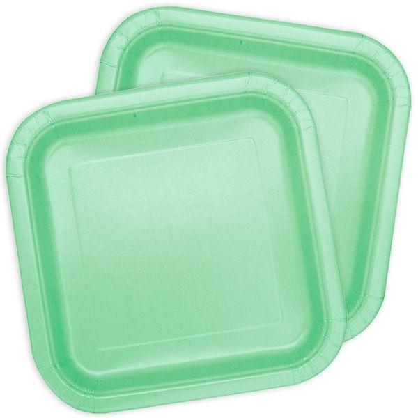 Kuchenteller quadratisch in mintgrün, 16 St.