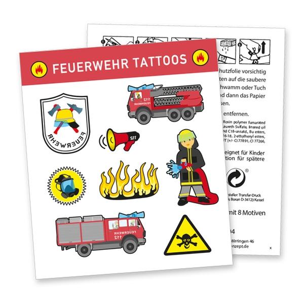 """Tattoobogen """"Feuerwehr"""" mit 8 Tattoos"""