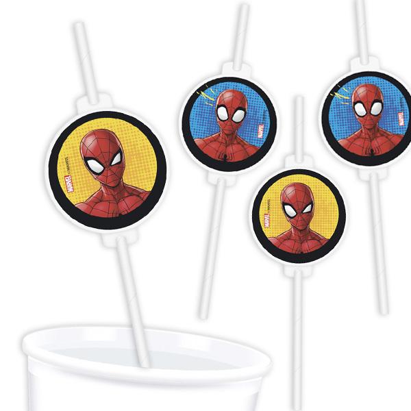 Spiderman Trinkhalme mit Motiv, 4er Pack, Pappe
