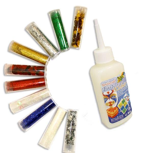 XL Glitter-Set, 10 Glitter- Röhrchen mit versch. Glitzer und Sternchen, Flocken und Herzen, plus Kleber 90g