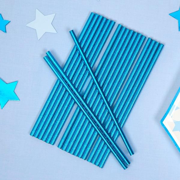 Trinkhalme, blau glänzend, 25er Pack