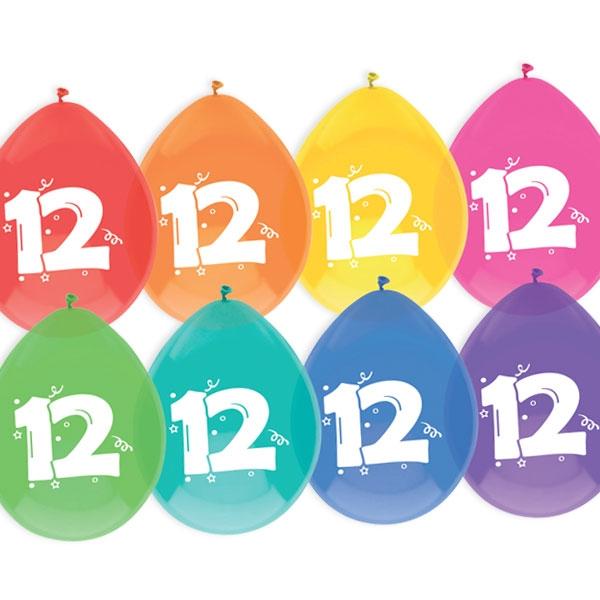 """Luftballons, bedruckt mit der Zahl """"12"""""""