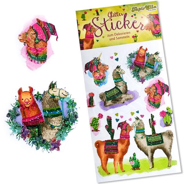 Glitzersticker Lamas, witzige Kinder-Sticker für Lama-Mottoparty, 1 Karte