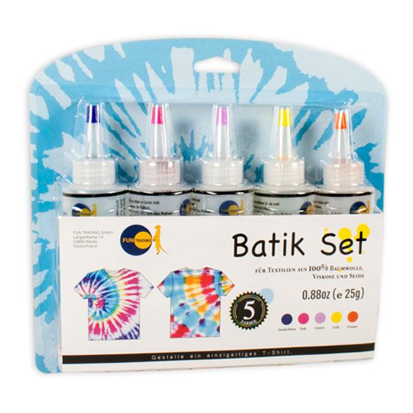 Batik Textilfarben-Set mit 5 Farben und Zubehör