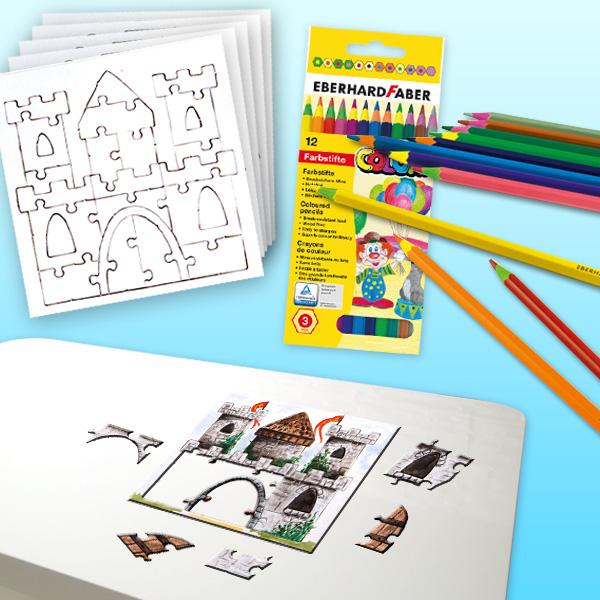 Ritterburg-Puzzle Malset, für 10 Kids