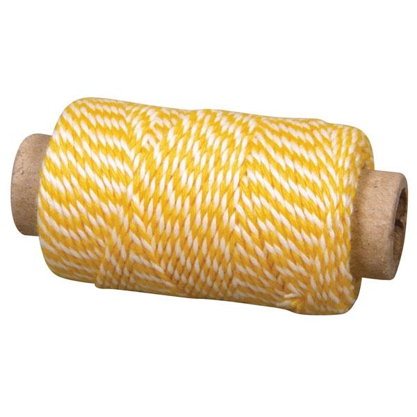 Deko-Garn gelb-weiss 35m, 1 Rolle, zum Dekorieren und Befestigen