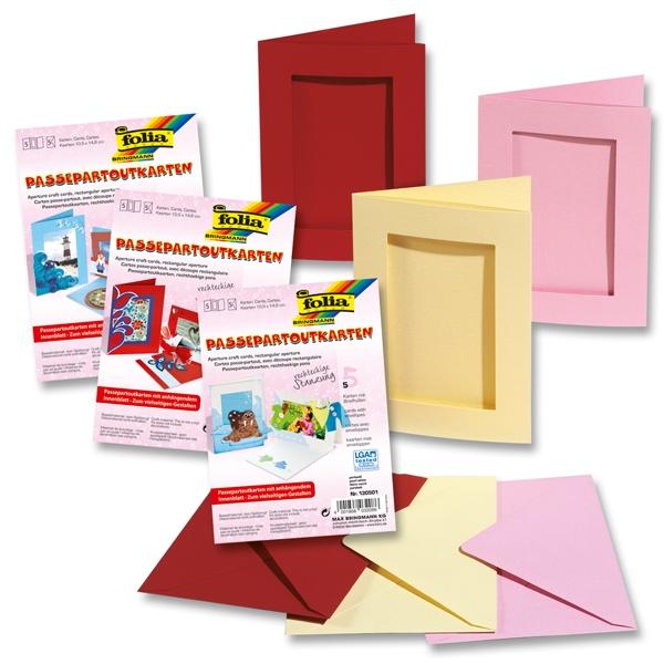 Passepartoutkarten perlweiß, 5er, rechteckig ausgestanzt mit Umschlag