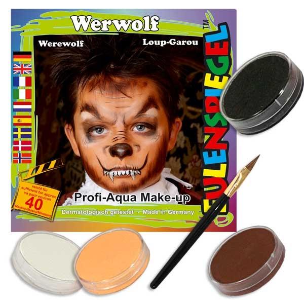Kinderschmink-Set Werwolf, mit 4 Farben, Pinsel und Anleitung
