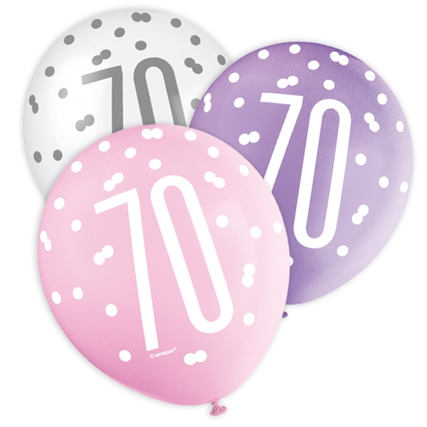 Latexballons mit 70 + Happy Birthday, lila/pink/weiß, 30cm