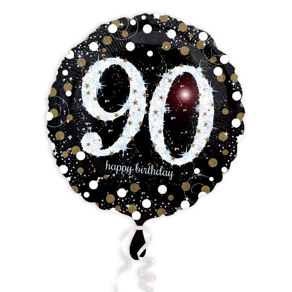 Glitzer-Folieballon, 35cm, 1 Stück, zum 90. Geburtstag oder Jubiläum