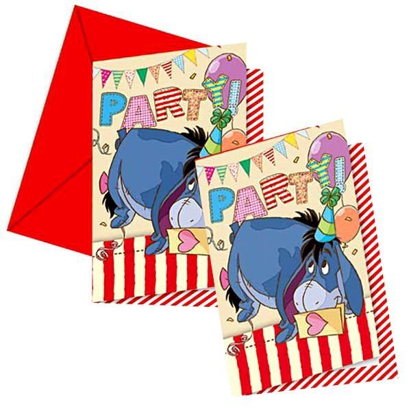 Winnie Pooh Einladungen 6 Stück, süße Einladungskarten +Umschläge