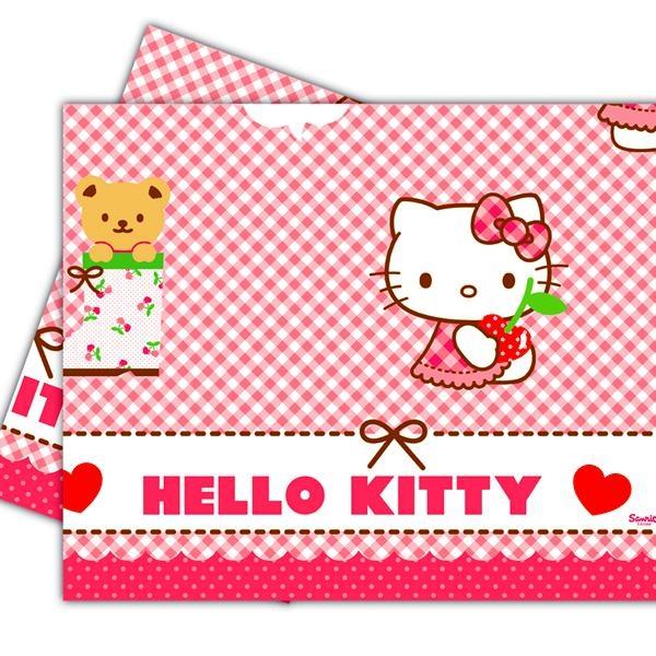 Hello Kitty Hearts Tischdecke, 120x180cm, abwischbare Kunststofffolie