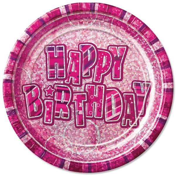 Glitzernde Partyteller HAPPY BIRTHDAY pink Mädchengeburtstag 8er,23 cm