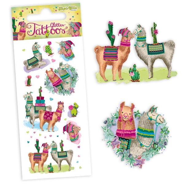 Lama Glittertattoos, 1 Karte glitzernde Einmaltattoos für Kinder