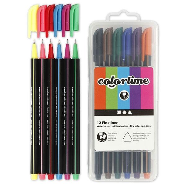 Fineliner Stifte-Set von Colortime, 12er Pack mit Spitzenstärke 5 mm