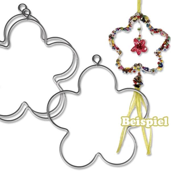 Draht-Blumen, 3er Pack, 7,5cm, aus stabilem Metall, Bastelartikel