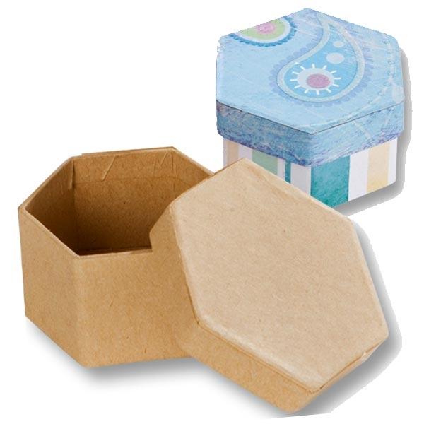 1 Pappboxen Mini SECHSECK, 7,5x6,5x4 cm, kreative Bastelideen, Zubehör zum Basteln