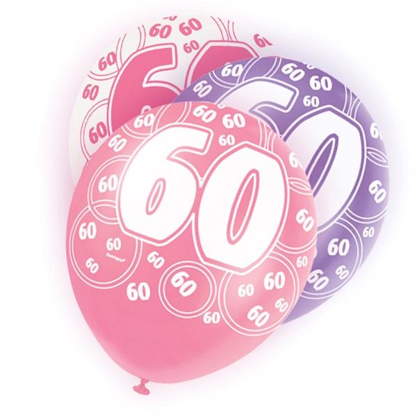 Latexballons Zahl 60 , lila/pink/weiß für Ballondeko, 30cm