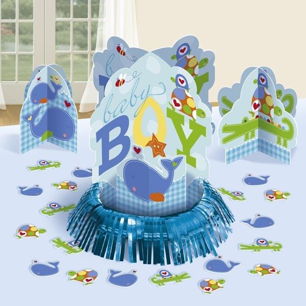 Ahoy Baby Blue – Tischdekoset, 3 Aufsteller und Tierpappmotive,  zur Babyparty