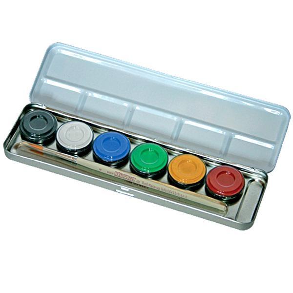 Schminkpalette mit 6 Farben im Metalletui, nachfüllbar, inkl. Profi-Schminkpinsel