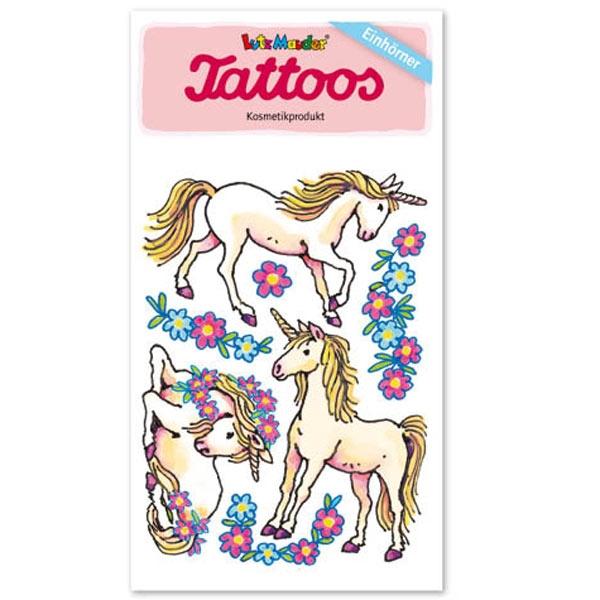 Einhorn-Tattoos mit Blumen für tolle Klebetattoos, 1 Karte 10,5×5,6cm