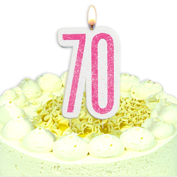 Geburtstagskerze Zahl 70, in glitzerndem Pink
