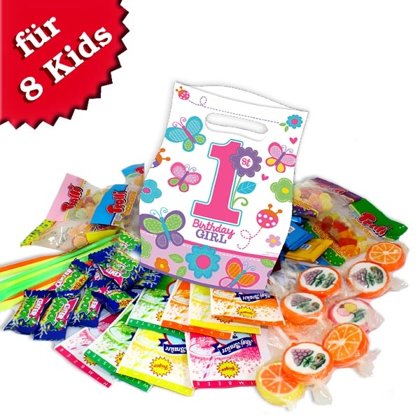 gefüllte Tütchen für 1. Geburtstag Girl mit leckeren Süßigkeiten im 8er Pack