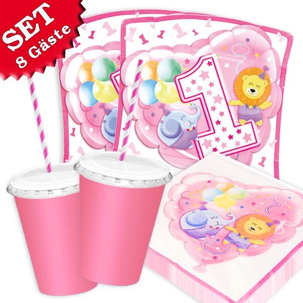 1. Geburtstag Safari - Basic Set, 66-teilig in rosa für bis zu 8 Kids