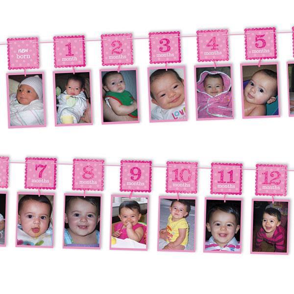 """Glitzer-Fotogirlande rosa, von """"neu geboren"""" bis 12 Monate, 3,65 m"""