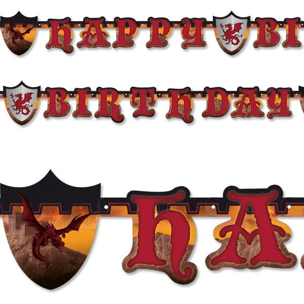 Ritter - Buchstabenkette, 1,77m, Happy Birthday- Raumdeko zur Ritterparty