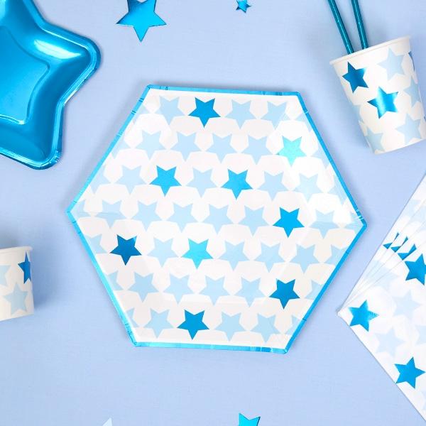 """Partyteller """"Kleiner Stern"""" in blau, 8er Pack"""