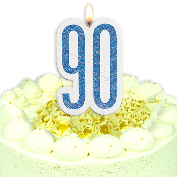 Geburtstagskerze Zahl 90 als Dekokerze in Glitzer-Blau