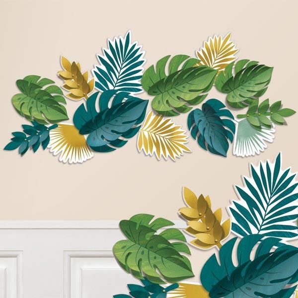 Tropical Summer Wanddeko Set, 13tlg, Palmblätter bis 31,1cm