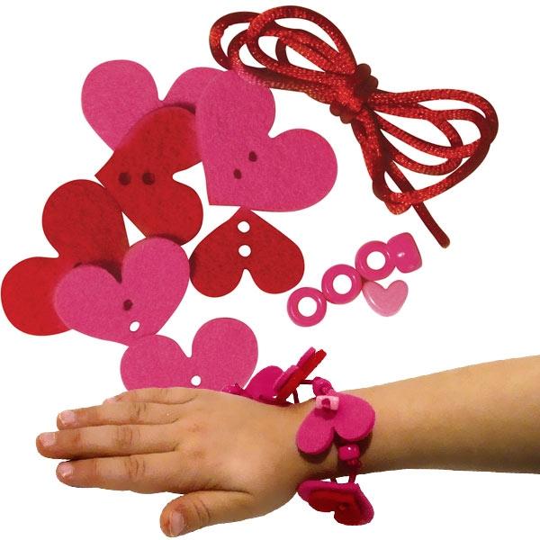 Filzblüten Armband Bastelset, Nina, 13 Teile, Rot