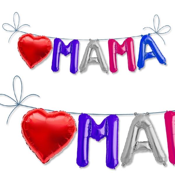 Mini Folieballon-Set Mama, 5 Ballons für Muttertag, Geburt & Babyparty