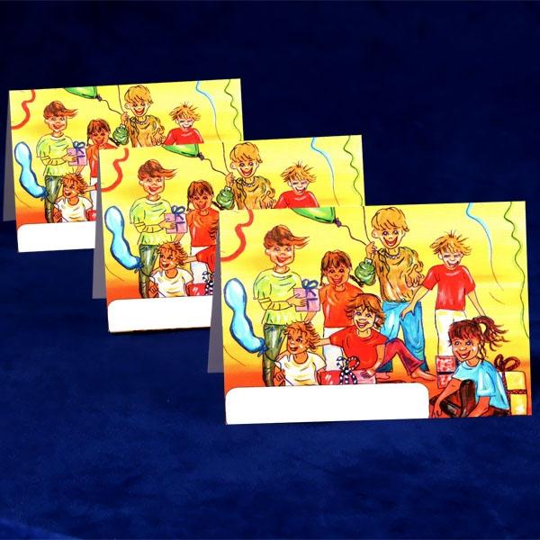 Kindergeburtstag-Platzkarte, Namenskarte/Tischkarte für Kinderpartys, 10,5x7,3cm