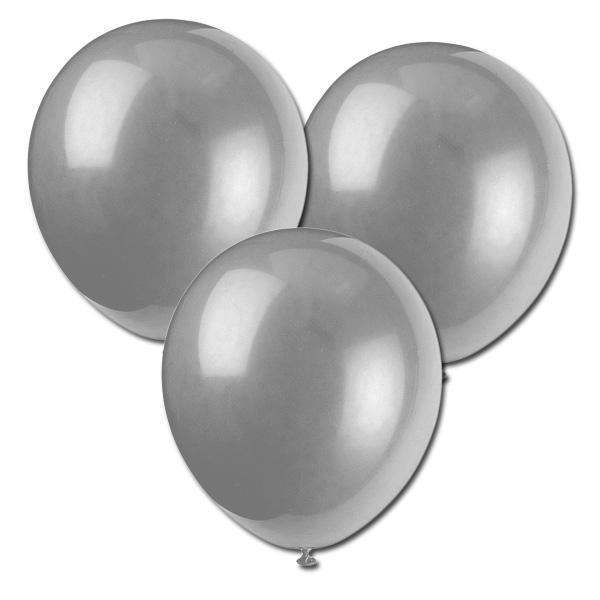 Latex-Ballons silbern schimmernd in guter Helium-Qualität, 8 Stück